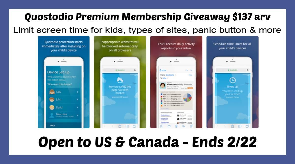 Quostodio Premium annual membership giveaway $137.95 arv