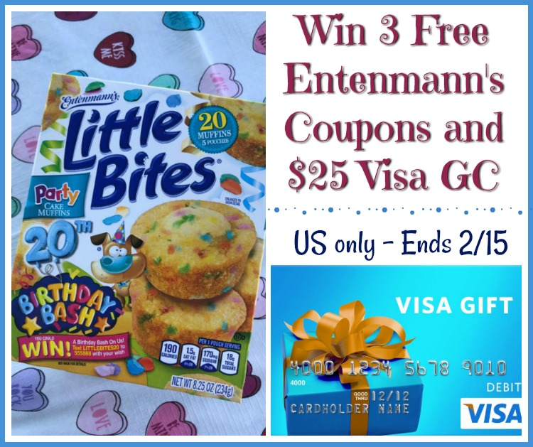 One Winner Will Receive A 25 Visa Digital Gift Card And 3 Coupons For 500 Off The Purchase Of Any EntenmannsR Little BitesR