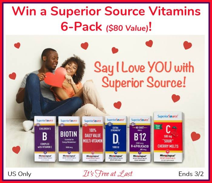 "Say ""I Love YOU"" with Superior Source Vitamins ($80 Value)  #SuperiorSource US, ends 3/2"