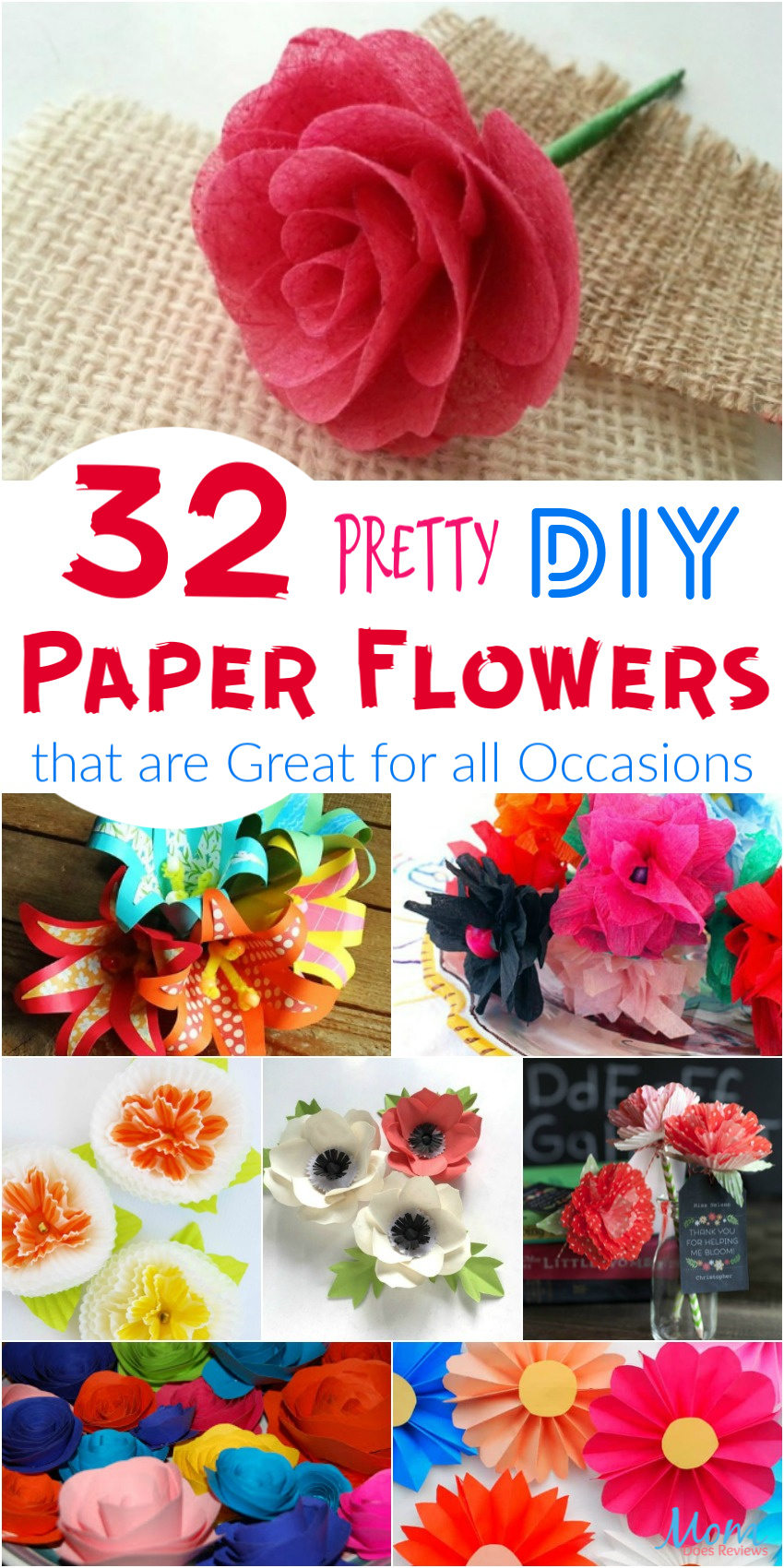 32 Pretty DIY Paper Flowers that are Great for all Occasions #crafts #diy #flowers #giftideas #funstuff
