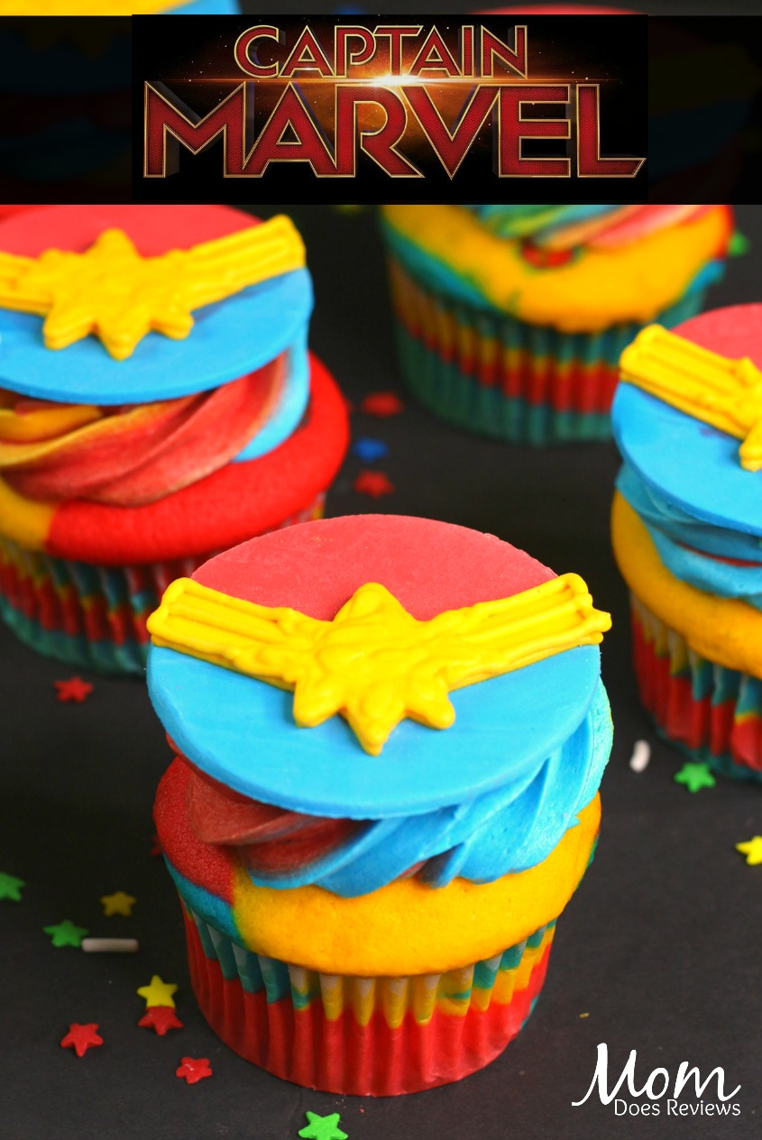 Captain Marvel Cupcakes! #desserts #cupcakes #captainmarvel #marvel
