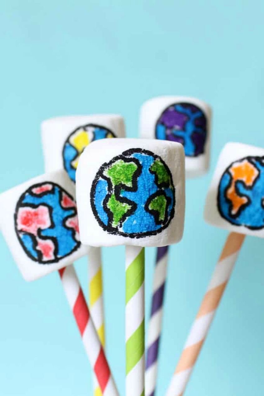 Rainbow Earth Day Marshmallows