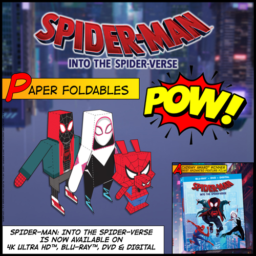 Fun Activity Button - Spider-Man: Into the Spider-Verse Paper Foldables