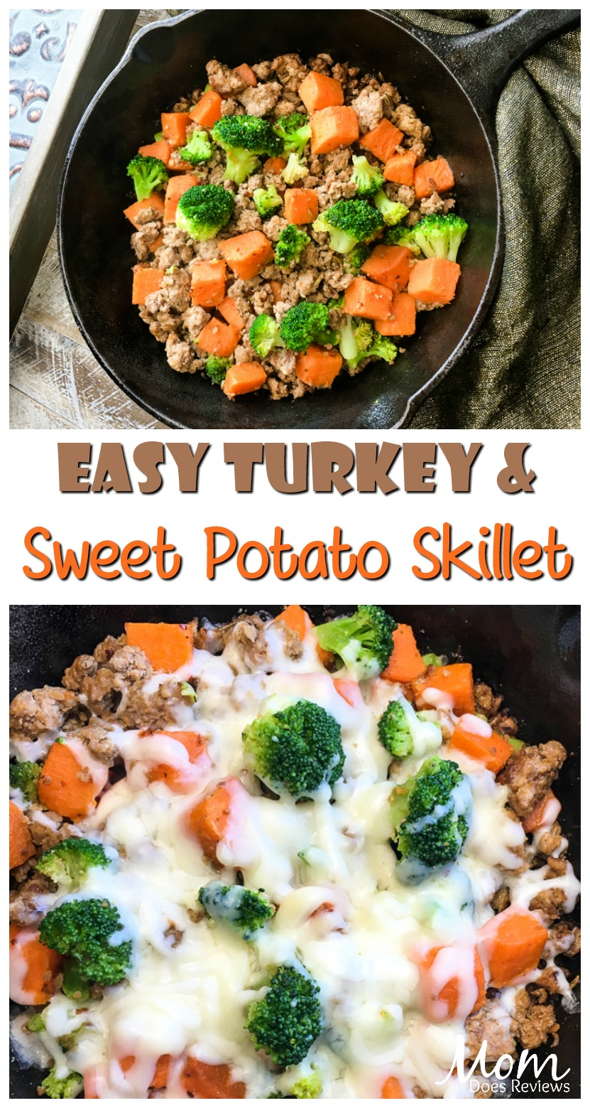 5-Ingredient Turkey and Sweet Potato Skillet #recipe #skilletmeal #onepanmeal #turkey #getinmybelly