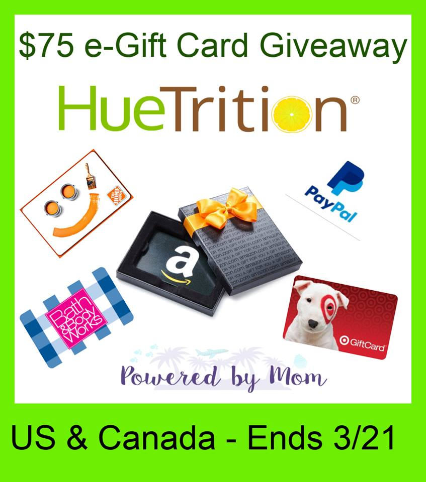 #Win $75 e-Gift Card of Your Choice! US/CAN ends 3/21 #Huetrition