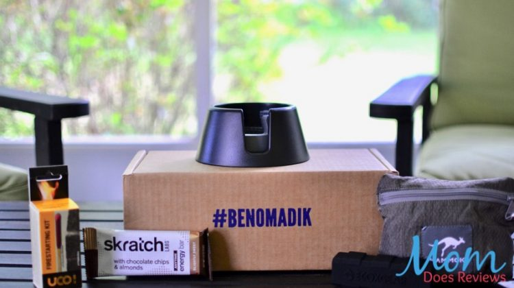 Nomadik subscription box with cupholder, snack bar, charger