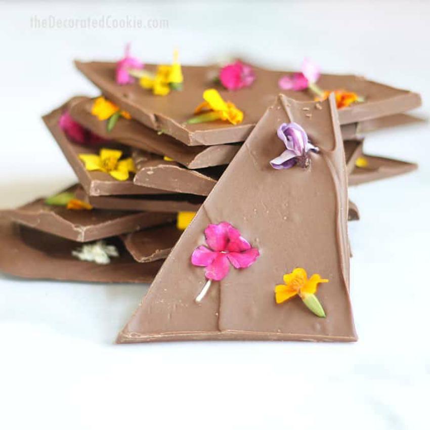 Edible Flower Chocolate Bark