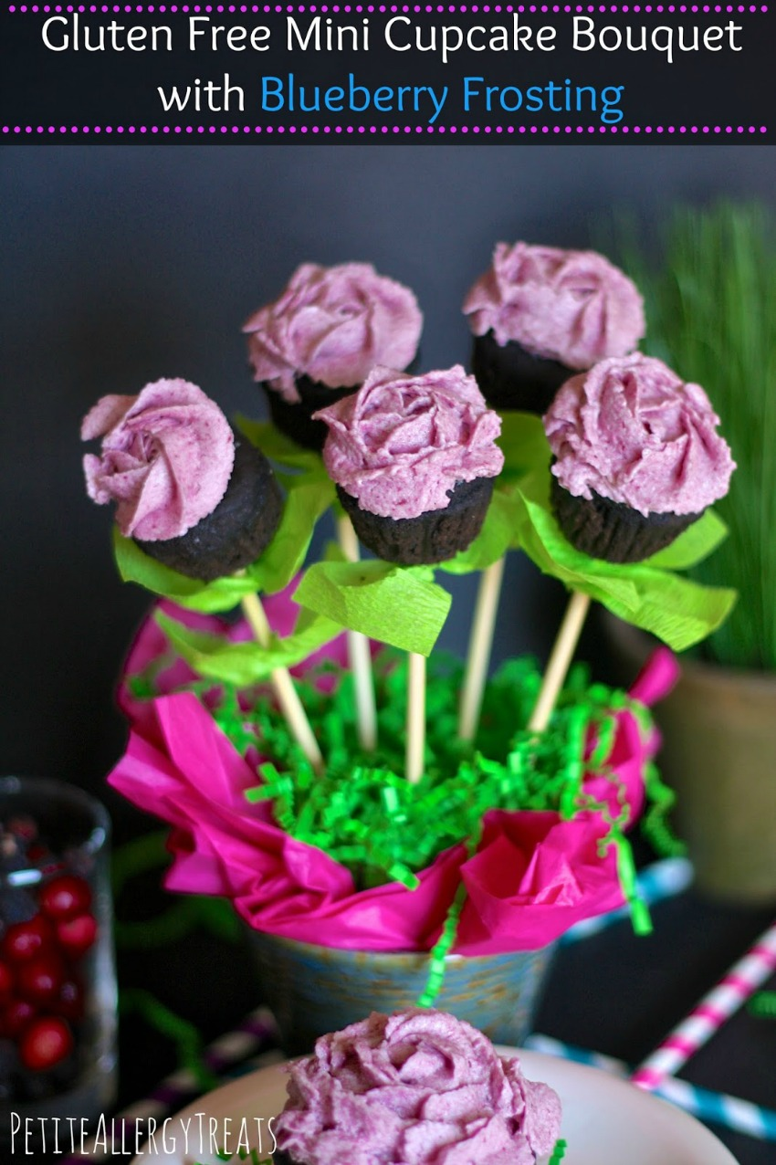 Gluten Free Mini Cupcake Bouquet with Blueberry Frosting