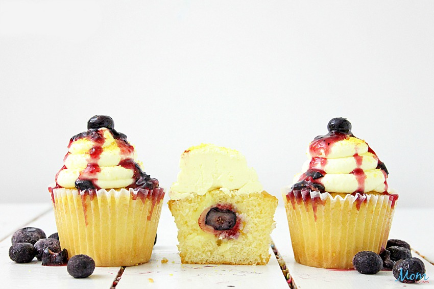 Lemon Blueberry Bakery-Style Cupcakes with Lemon Cream Cheese Frosting