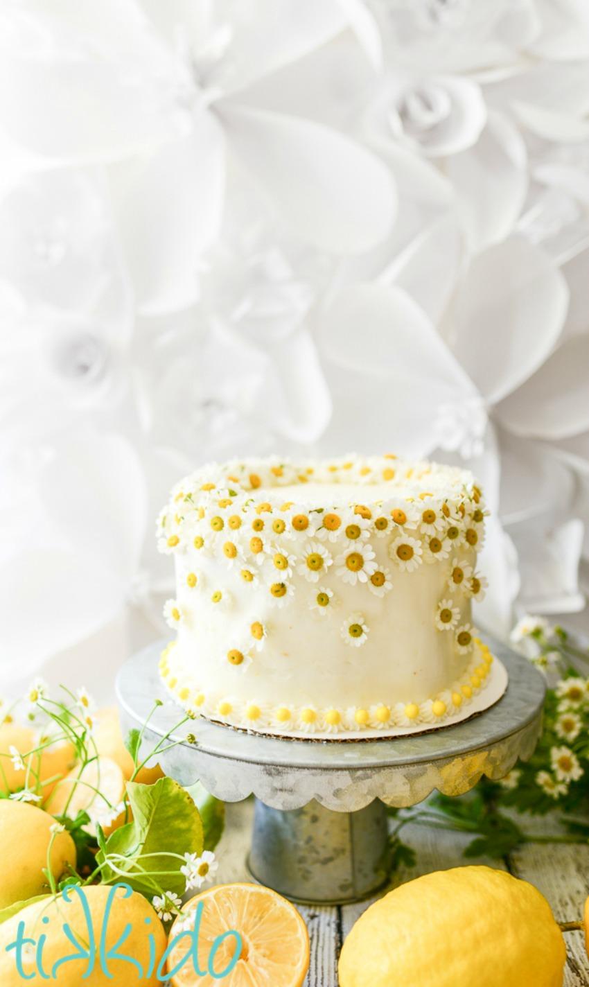 One Bowl Honey Chamomile Tea Cake with Lemon Buttercream Icing