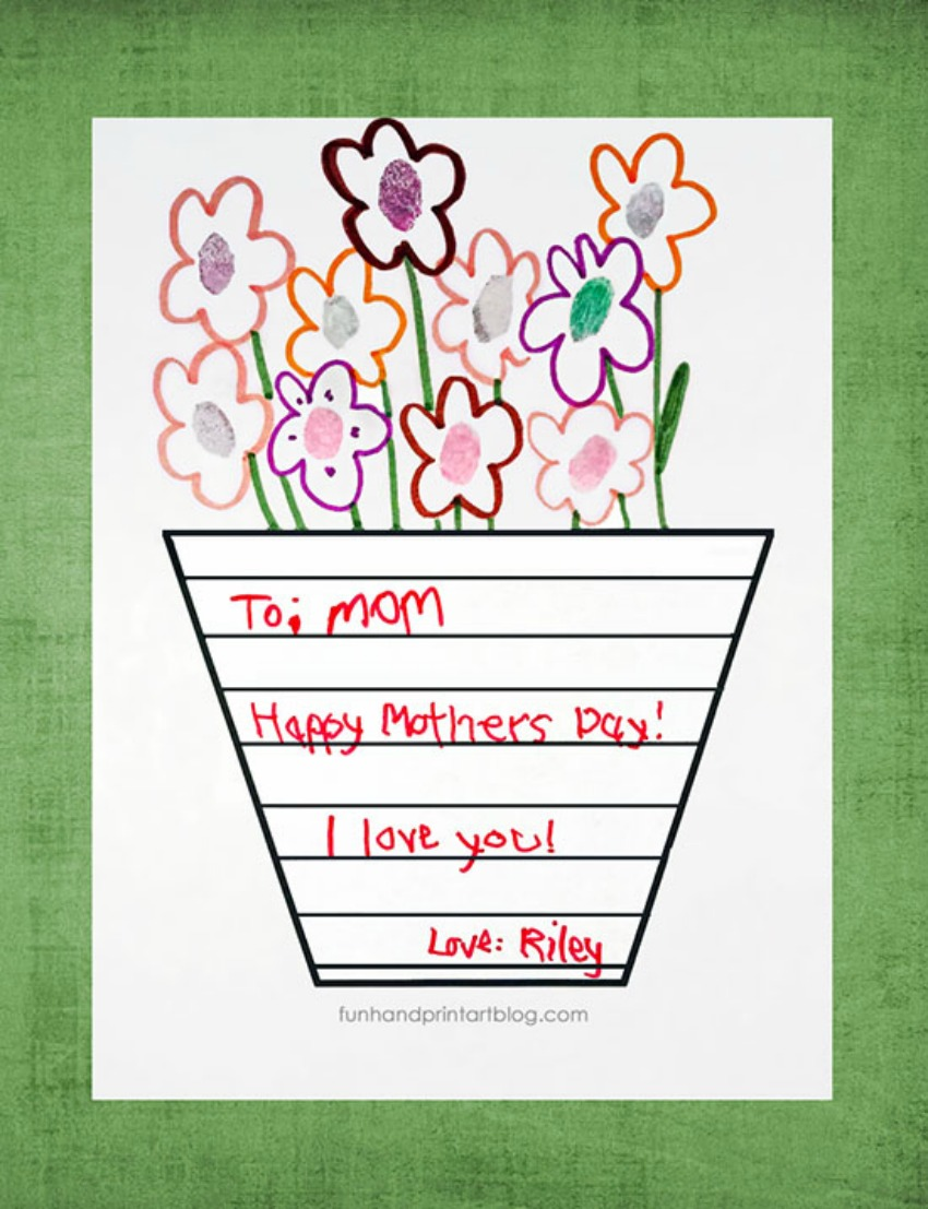 Printable Mother's Day Vase Template with Handwritten Note