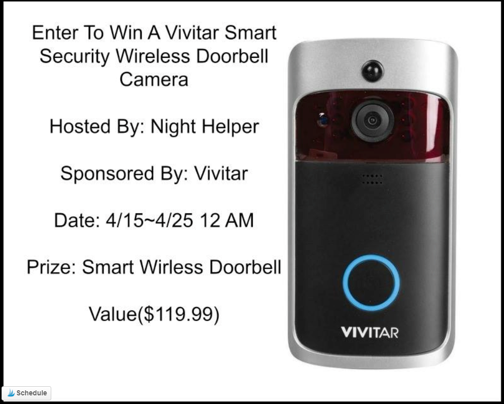 #Win A VIVITAR Wireless Doorbell Camera- US ends 4/24