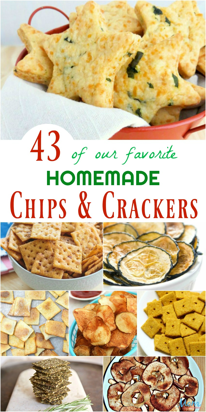 43 of our favorite Homemade Chips & Crackers #recipes #chips #crackers #veggiechips #foodie #food #yummy