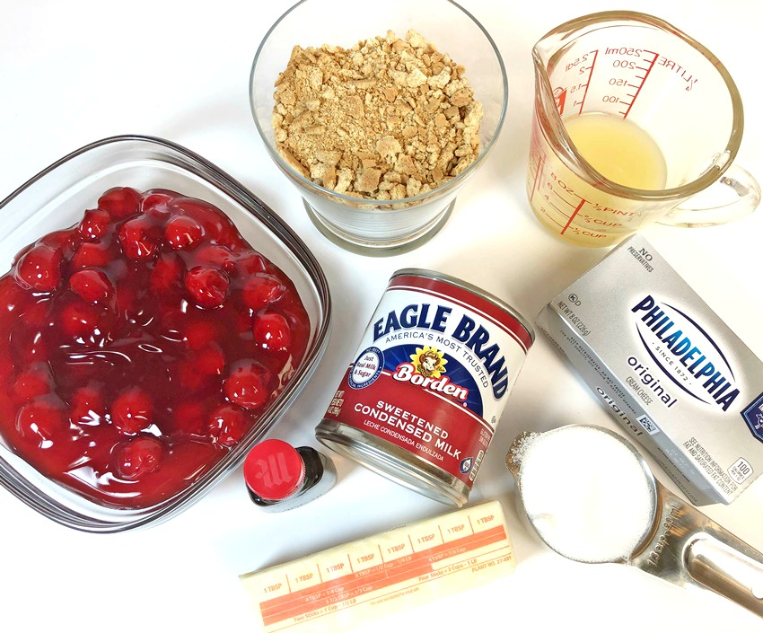No-Bake Cherry Cheesecake ingredients