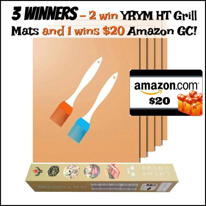 3 Winners- 1 Wins $20 Amazon GC, 2 Win Grill Mats from YRYM HT!