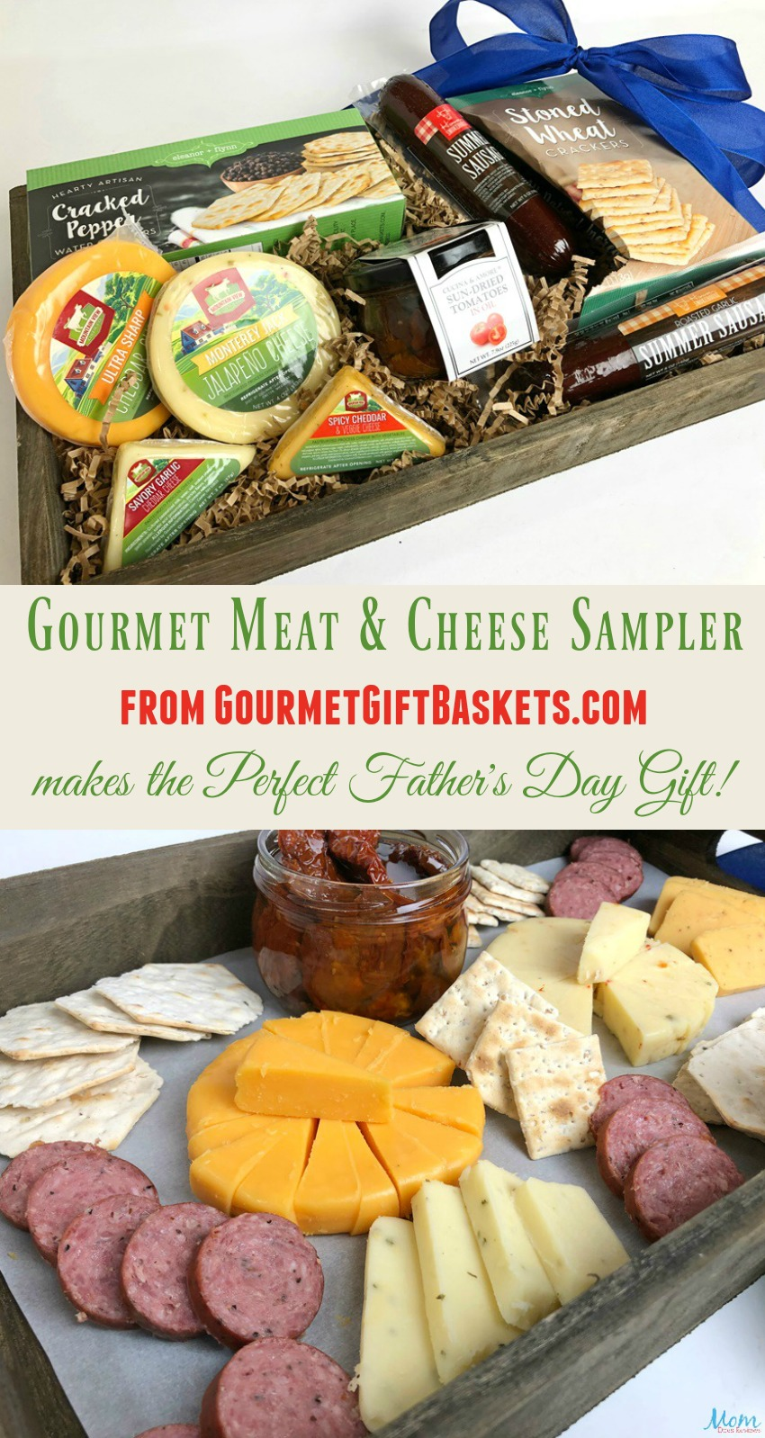 Gourmet Meat & Cheese Sampler from GourmetGiftBaskets.com makes the Perfect Father's Day Gift! #superdadgifts19