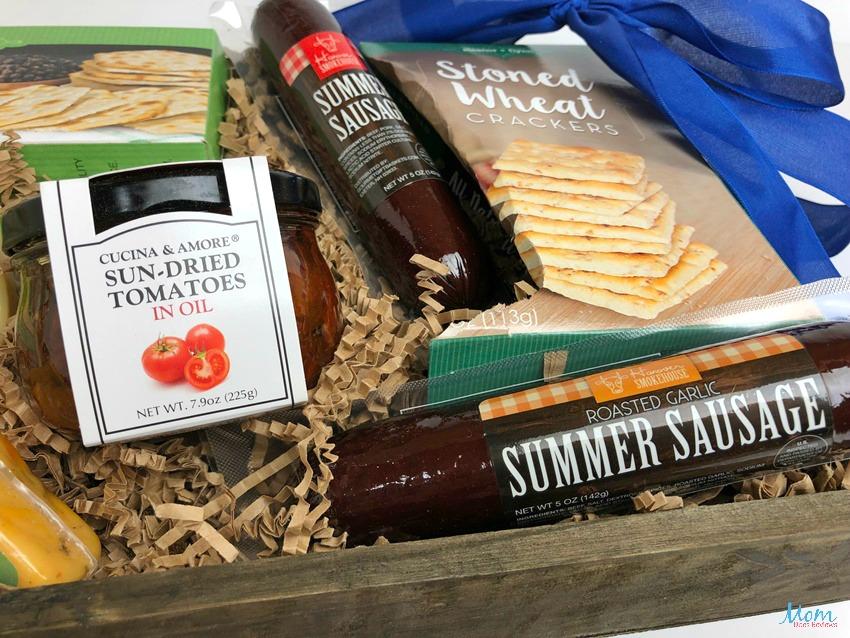 GourmetGiftBaskets.com Summer Sausage and artisan crackers