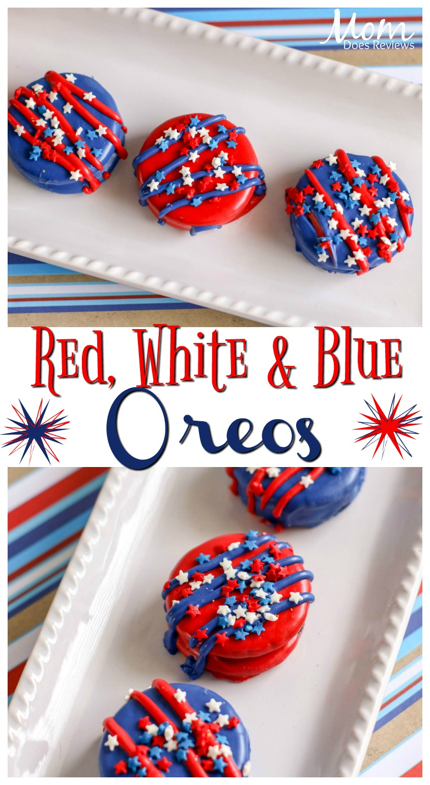 Red, White and Blue Oreo Cookies For Festive Fun! #desserts #4thofjuly #sweets #funfood