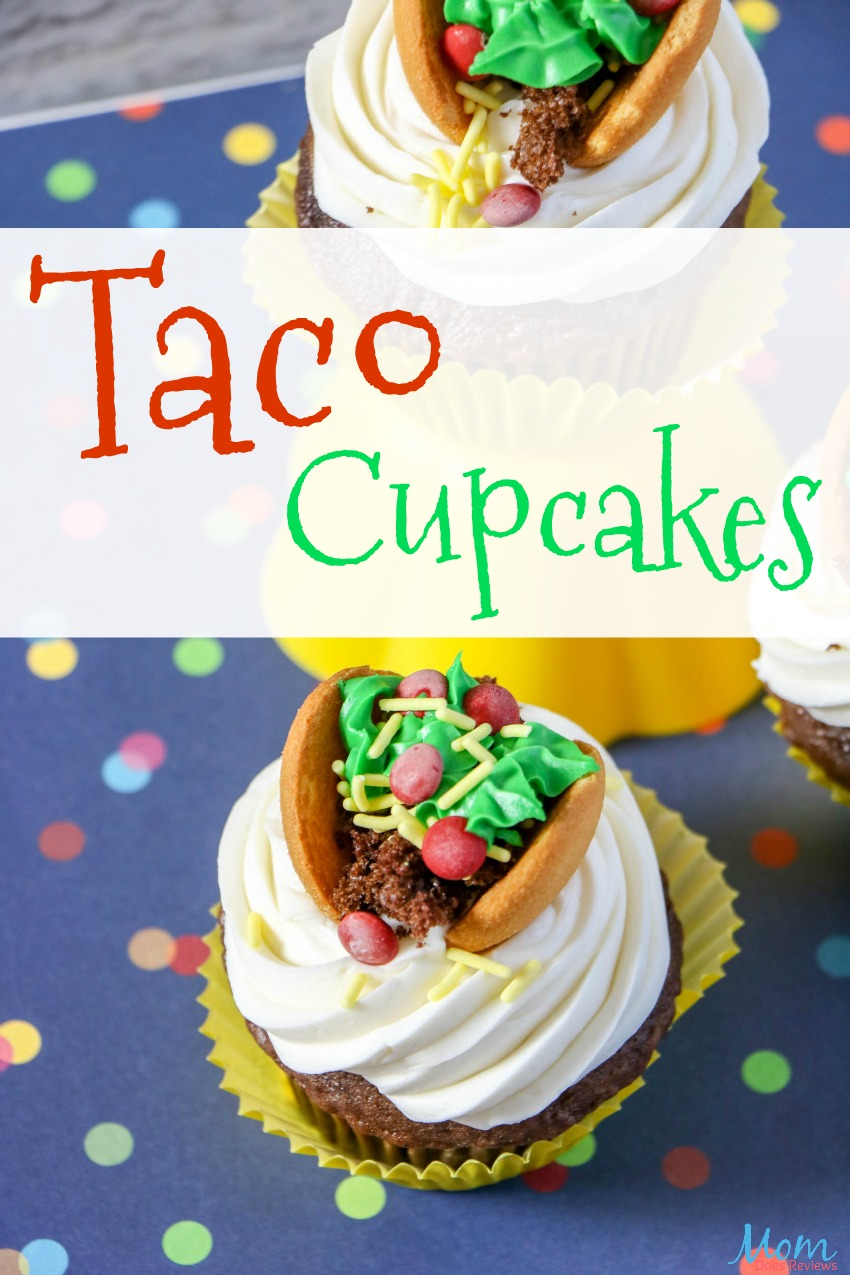 Taco Cupcakes for a fun Taco Night Dessert! #cupcakes #tacos #desserts #sweets #funfood #extremecupcakes
