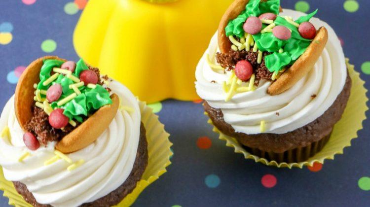 Taco Cupcakes for a fun Taco Night Dessert!
