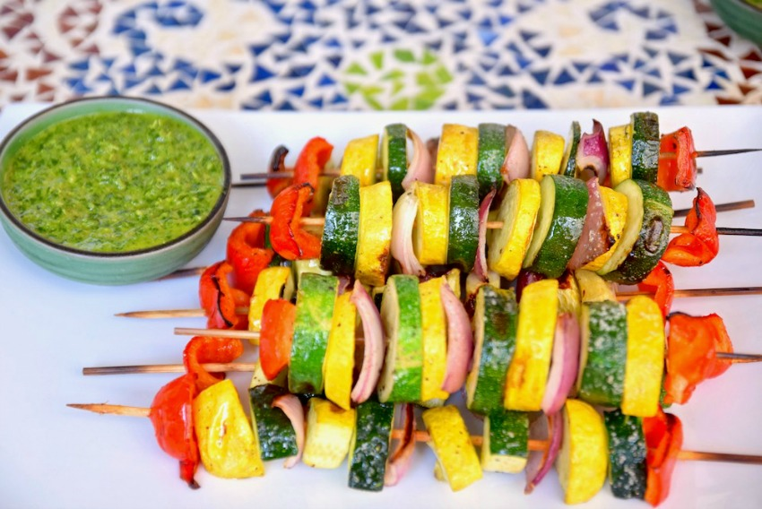 Vegetable Kebabs with Cilantro Chimichurri