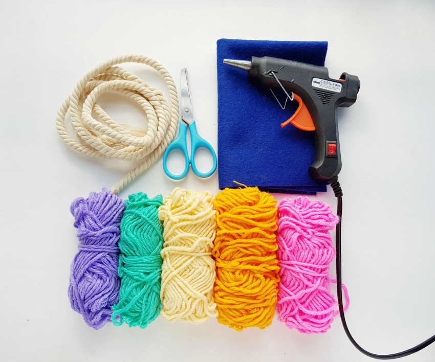 DIY Rainbow Wall Decor supplies