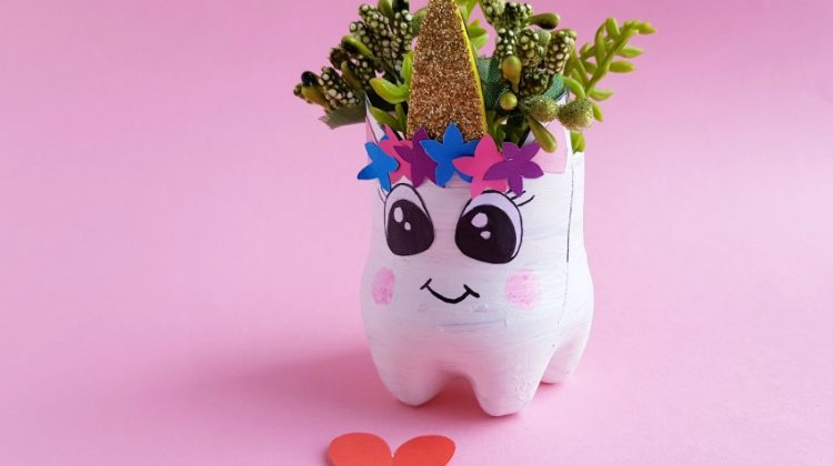 Simply Adorable DIY Recycled Bottle Unicorn Planter
