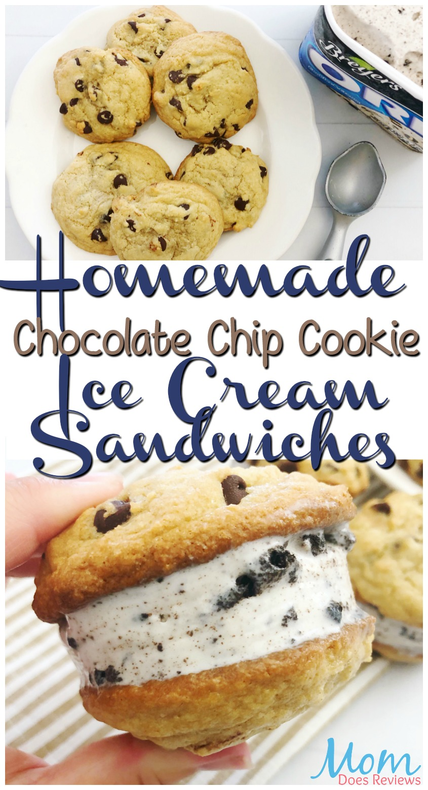 Homemade Chocolate Chip Cookie Ice Cream Sandwiches #dessert #icecream #cookies #chocolatechip #sweets #yummy