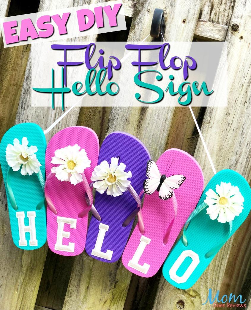 Easy Dollar Store Craft- Flip Flop Hello Sign #diy #craft #funstuff