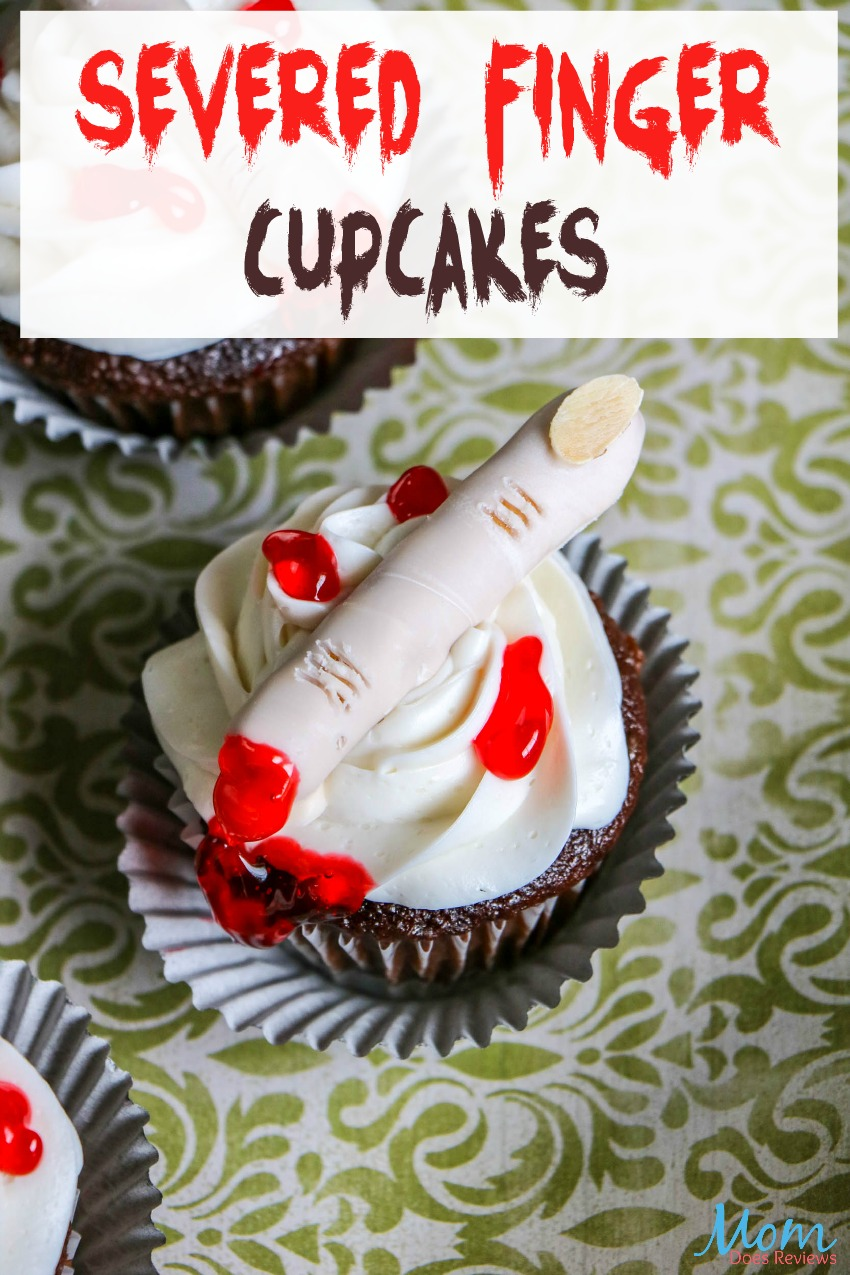 Severed Finger Cupcakes for Spooky Halloween Fun! #cupcakes #halloween #funfood