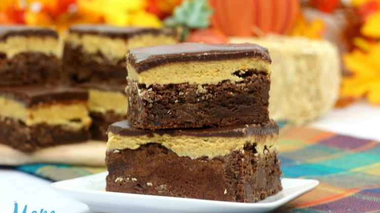 Decadent Triple Layered Pumpkin Brownies