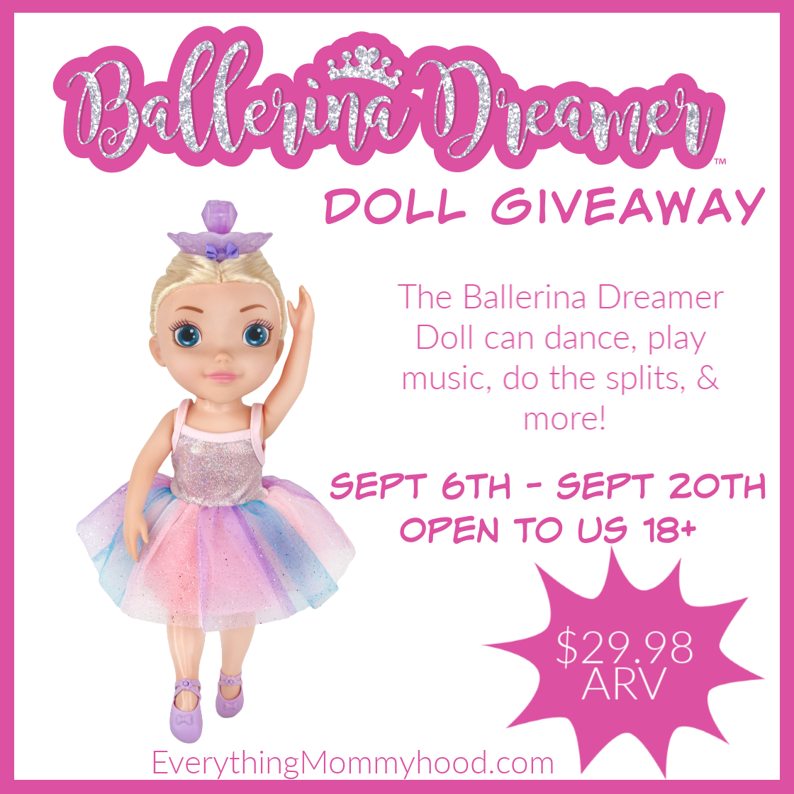 #Win a Ballerina Dreamer Dancing Doll! US, ends 9/20 #KVBallerina