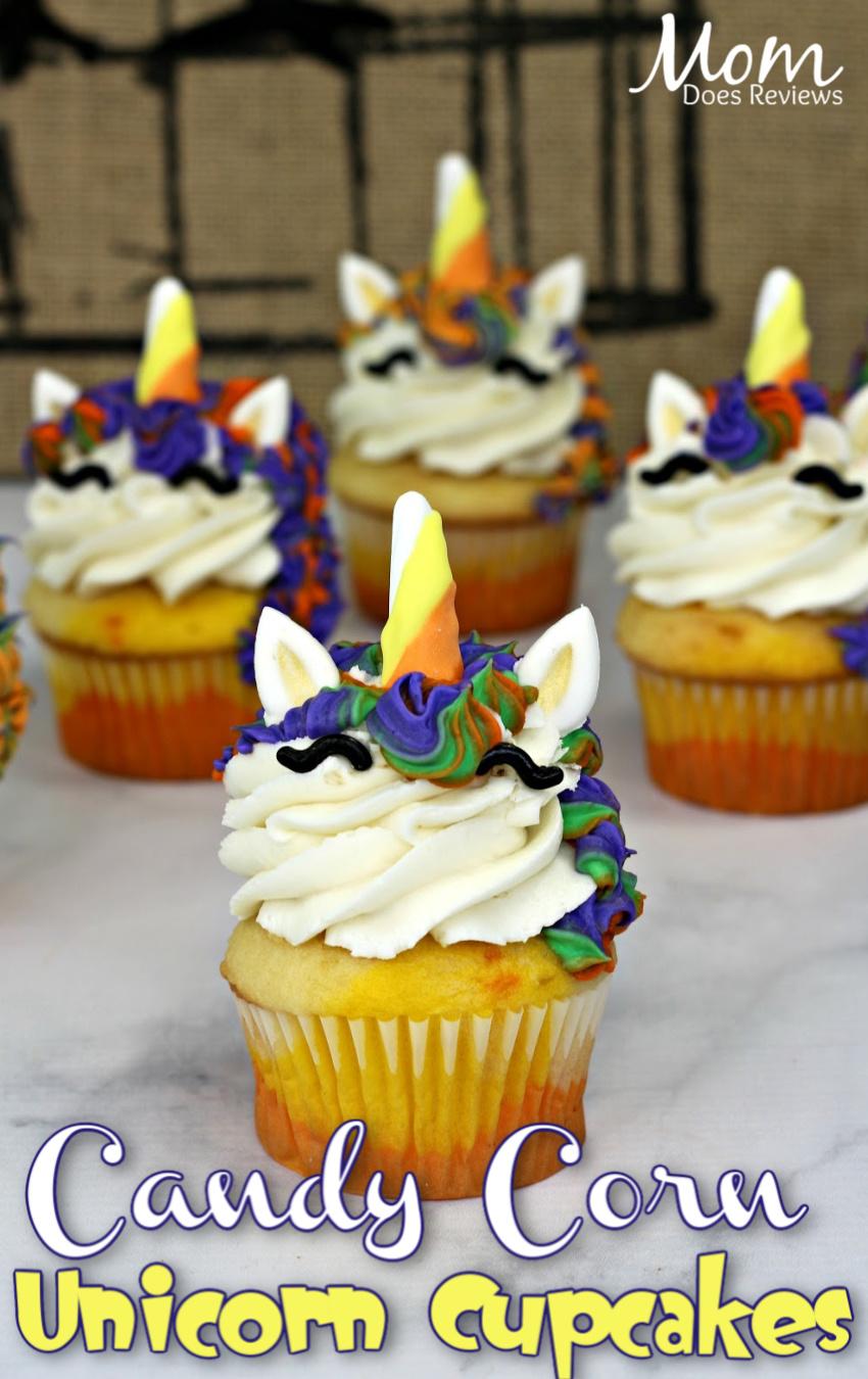 Candy Corn Unicorn Cupcakes #unicorns #recipe #desserts #funfood