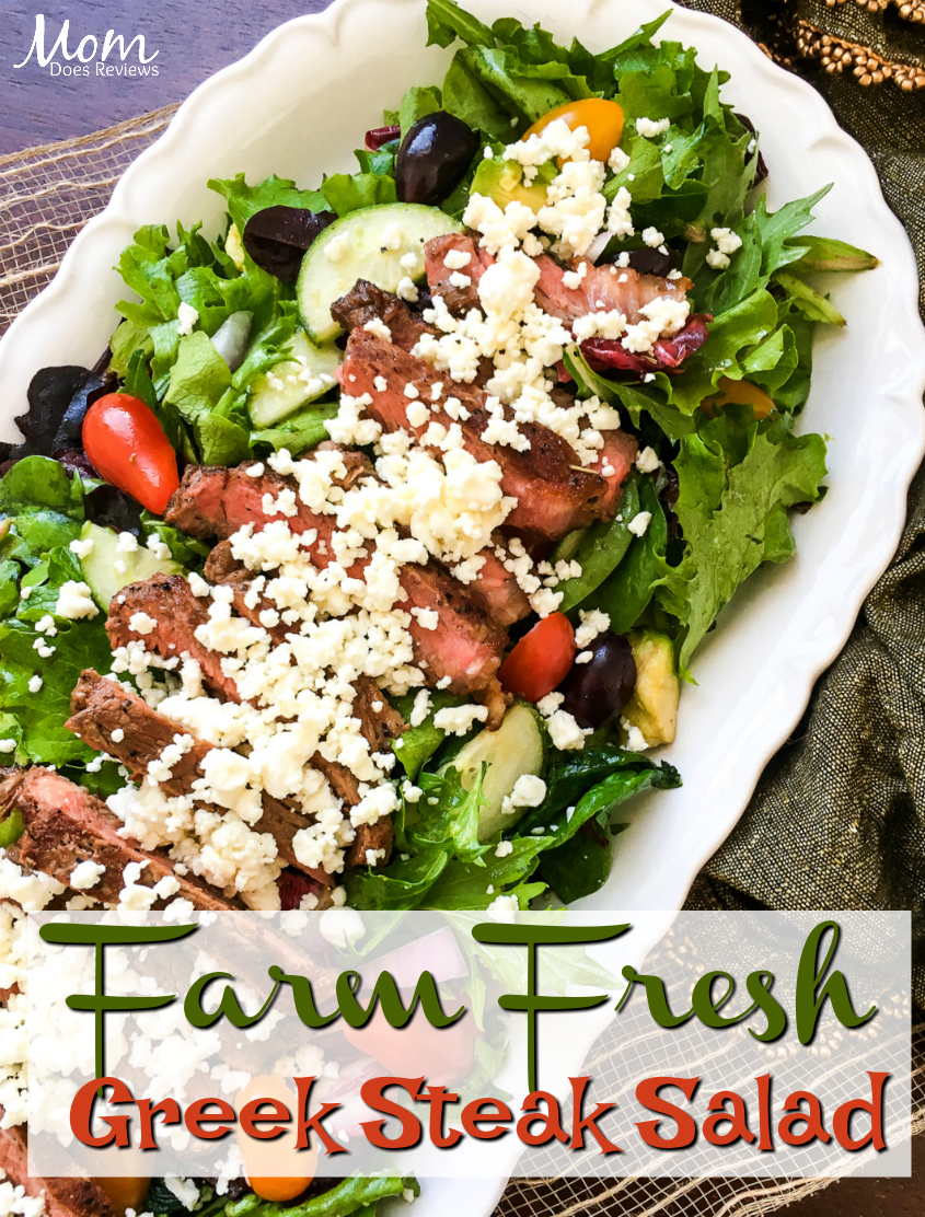 Farm Fresh Greek Steak Salad #recipe #greeksalad #lowcarb
