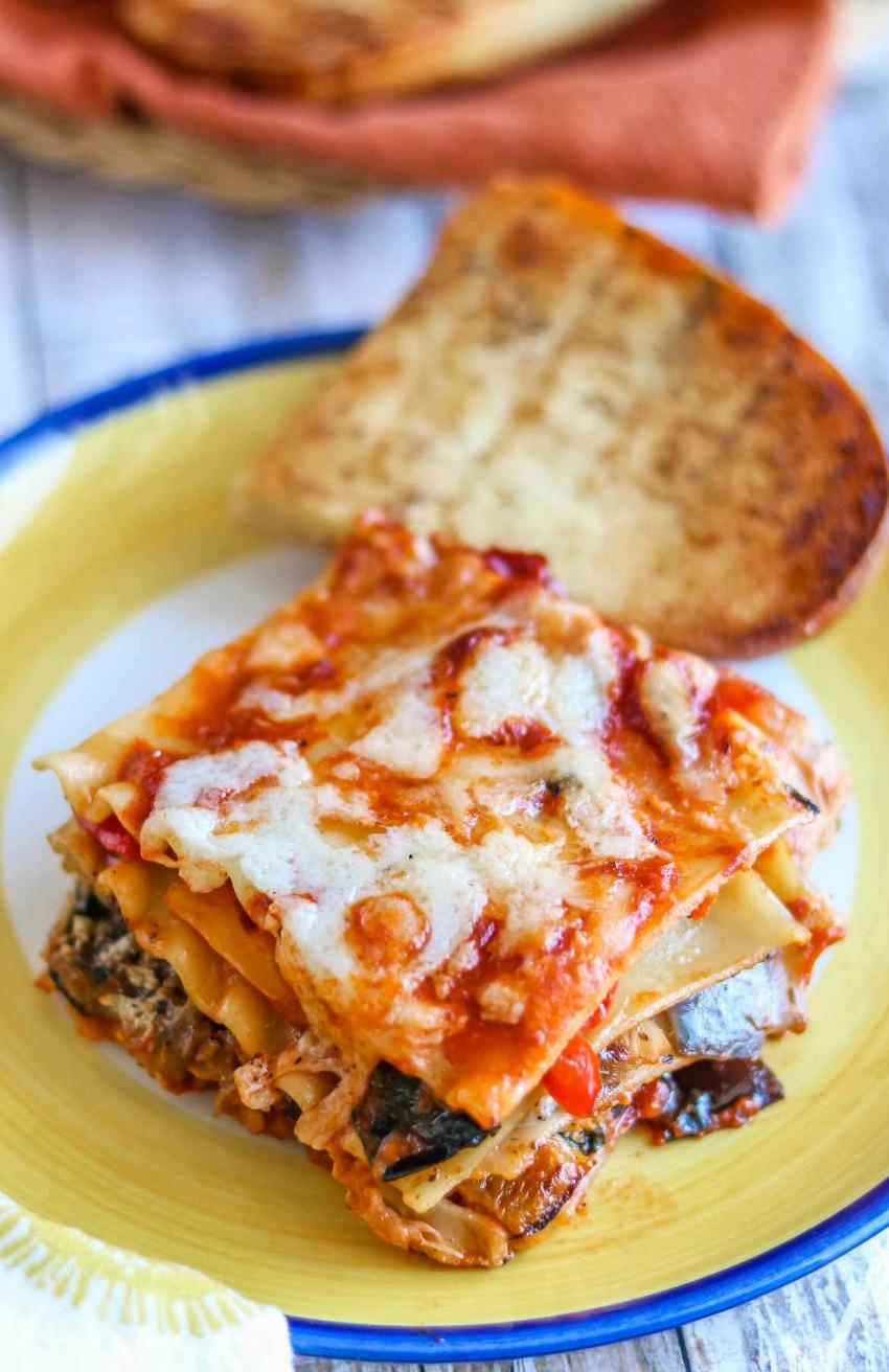 No Boil Vegetarian Lasagna Recipe with Roasted Veggies