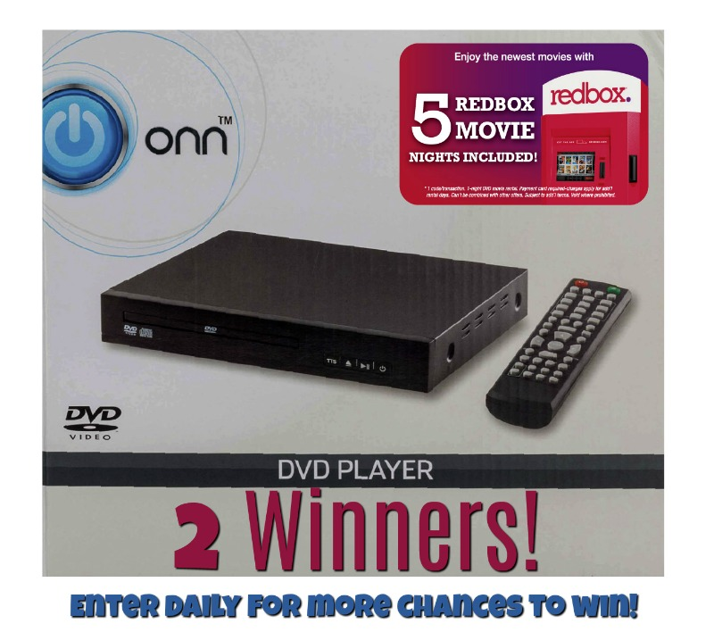 TWO Winners! #Win an ONN DVD player with 5 Redbox Rental Coupons