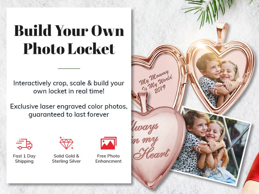 Build Your Own Sterling Silver 2-Picture Heart Locket