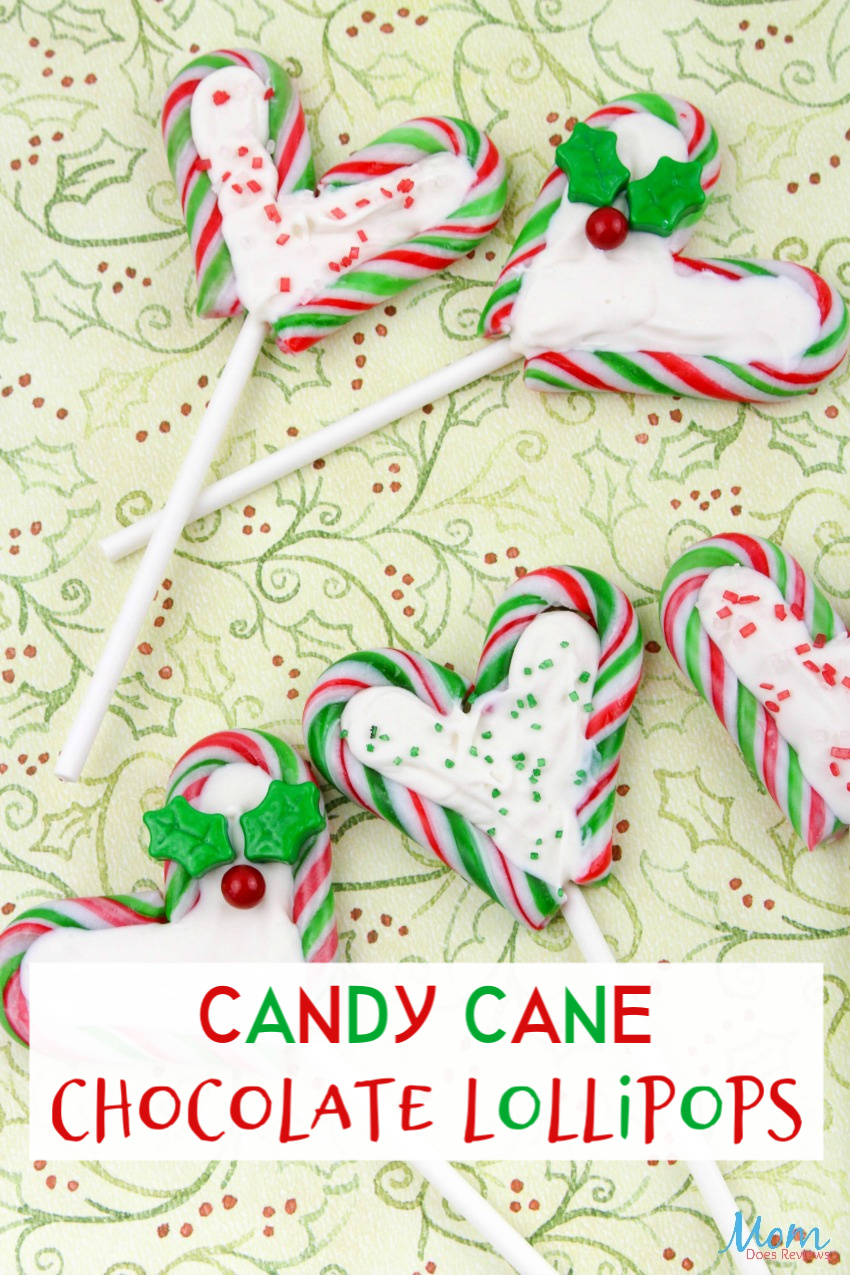 Candy Cane Chocolate Lollipops #Recipe #christmas #sweets