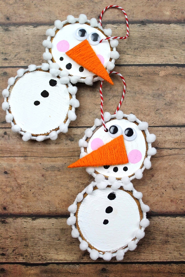 DIY Snowman Ornaments with Wooden Slices