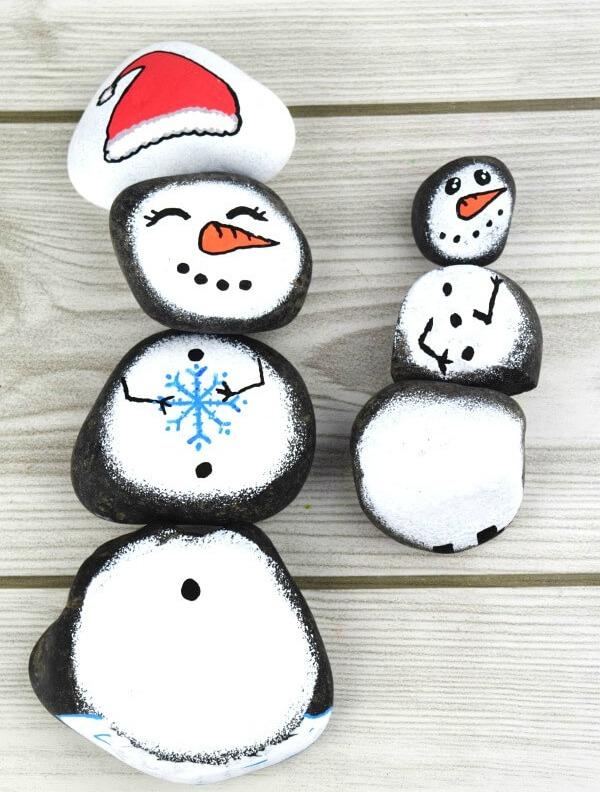 Snowman Story Stones Rock Painting Idea