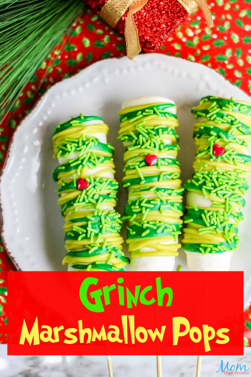 Grinch Marshmallow Pops Recipe #funfood #Christmas #grinch
