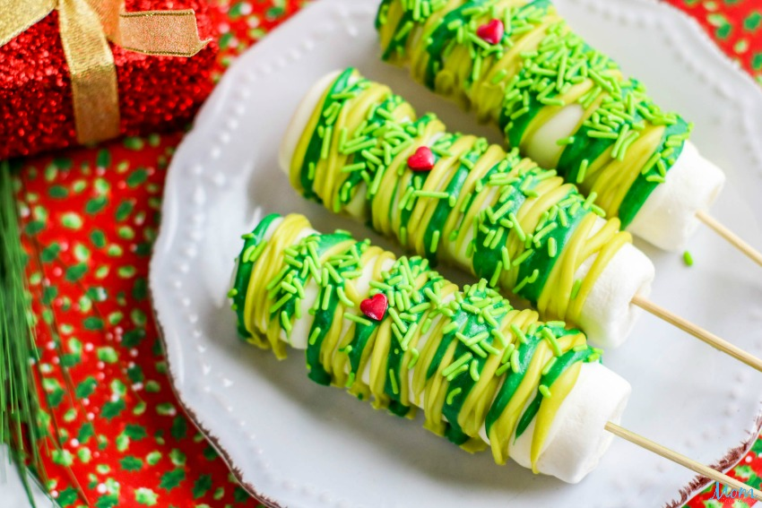 Grinch-Inspired Sweet Treats - Grinch Marshmallow Pops Recipe