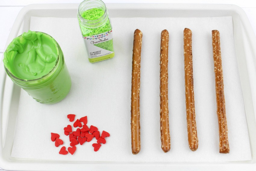 Grinch Pretzels process