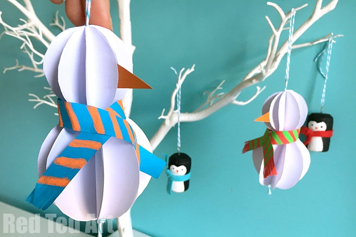 Easy Paper Snowman Ornaments