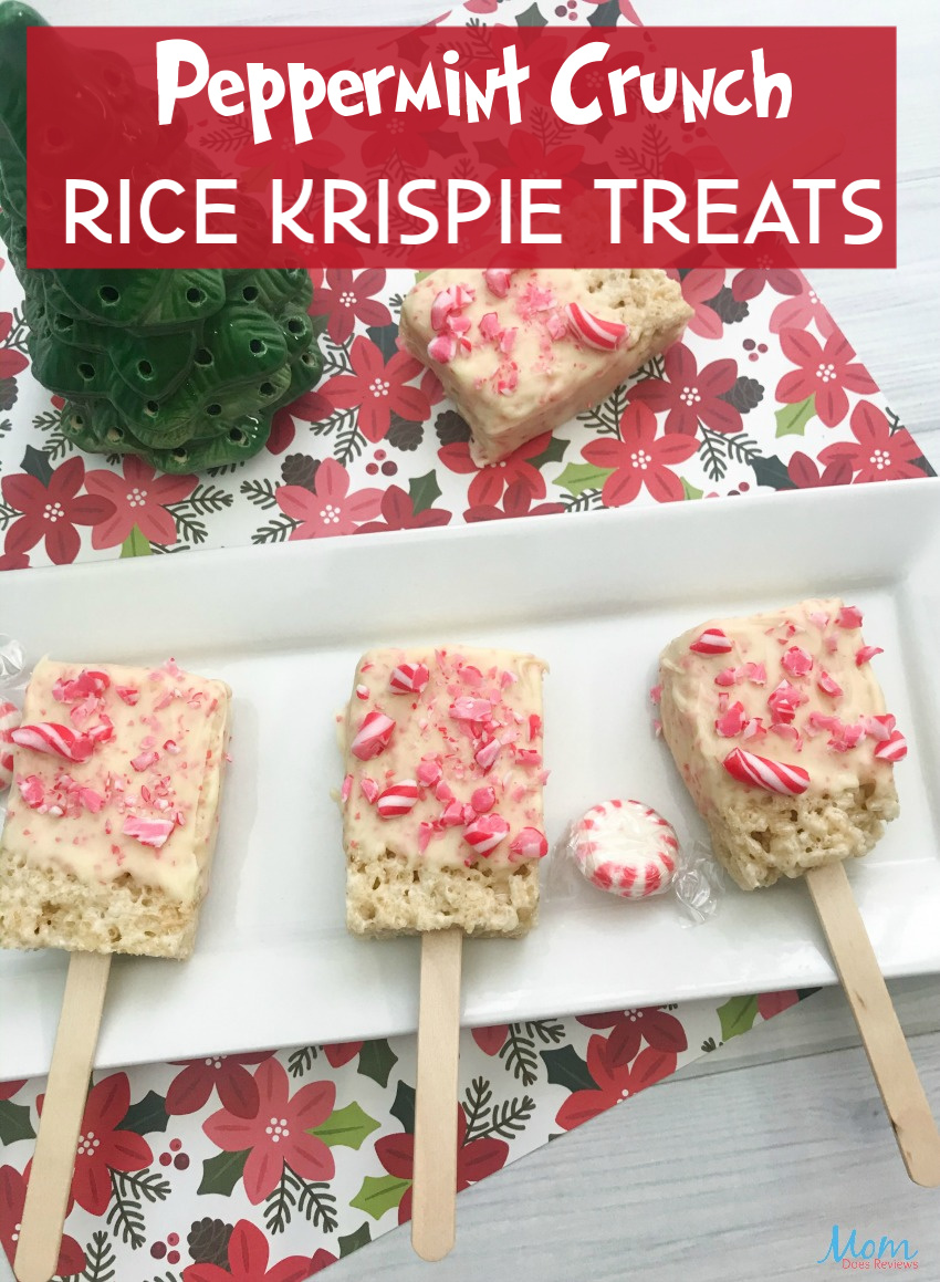 Peppermint Crunch Rice Krispie Treats #funfood #sweets #christmas