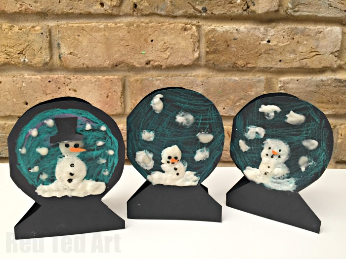 Puffy Paint Snowman Snowglobe Cards