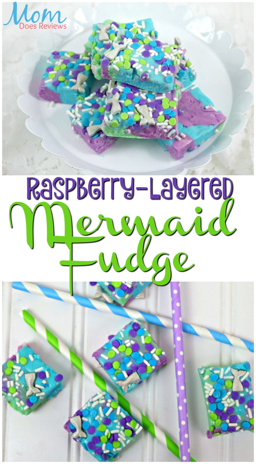Raspberry-Layered Mermaid Fudge #funfood #magical #recipe