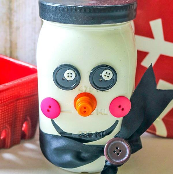 Snowman Mason Jar Craft DIY