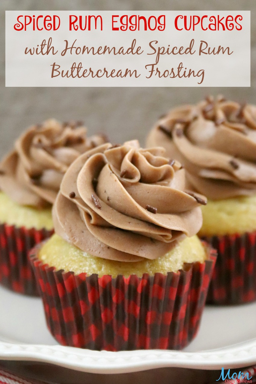 Spiced Rum Eggnog Cupcakes with Homemade Spiced Rum Buttercream Frosting #recipe #sweets #foodie