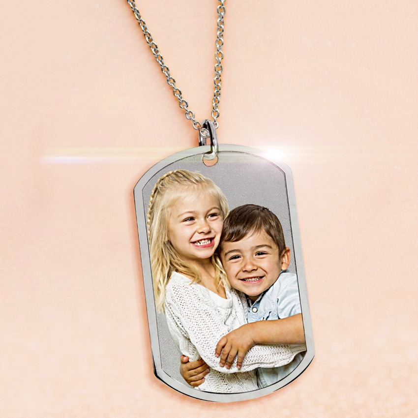 Stainless Steel Photo Dog Tag Pendant w/24 inch Ball Chain